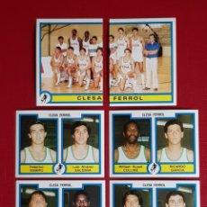 Coleccionismo deportivo: CLESA FERROL PANINI FUTBOL BASKET 85 EQUIPO COMPLETO 6 CROMOS NUEVOS BALONCESTO 1984-1985 84-85. Lote 156958325