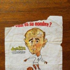 Coleccionismo deportivo: ALFREDO DI STEFANO (REAL MADRID) -NÚMERO 28 CHICLES DUNKIN CARICATURAS ¿CUÁL ES SU NOMBRE? SIN PEGAR. Lote 162585226