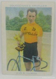 Cromo antiguo ciclismo Nº 9 Juan B. Llorens, chocolates Amatller