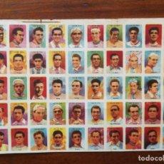 Coleccionismo deportivo: ASES DEL PEDAL - LAMINA SIN CORTAR 50 CROMOS CICLISTAS - COLECCION COMPLETA - AÑOS 50 - CICLISMO. Lote 167111048