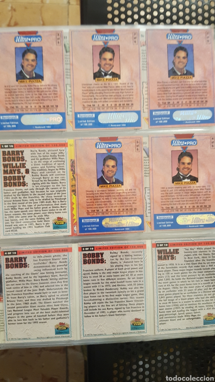 Trading Cards Lote Cartas Beisbol Barry Bonds Mike Piazza Willie Mays