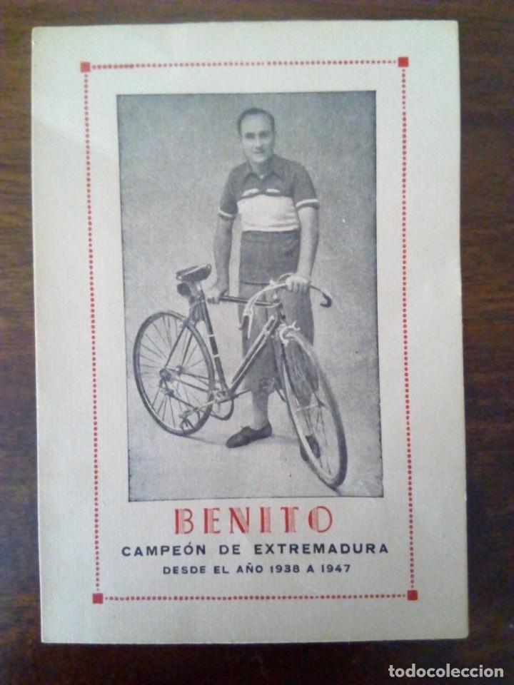 CICLISMO. CROMO TARJETA DE BENITO, CAMPEÓN DE EXTREMADURA DESDE 1938 A 1947. (Coleccionismo Deportivo - Cromos otros Deportes)
