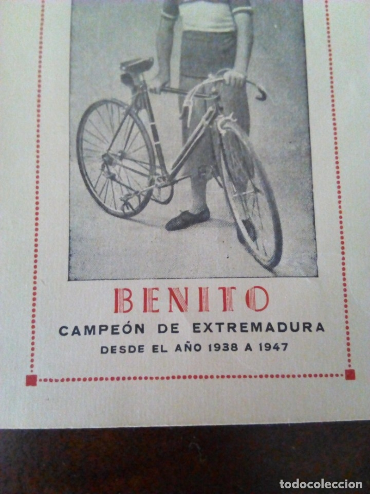 Coleccionismo deportivo: Ciclismo. Cromo Tarjeta de Benito, Campeón de Extremadura desde 1938 a 1947. - Foto 3 - 174993098