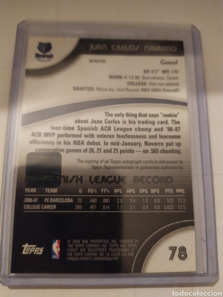 Coleccionismo deportivo: Autógrafo Juan Carlos Navarro Topps Finest 2008 Rookie card - Foto 2 - 178831003