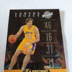Coleccionismo deportivo: PAU GASOL 4 NBA PANINI SEASON 2009-10 LEGACY LOS ANGELES LAKERS. Lote 179111800