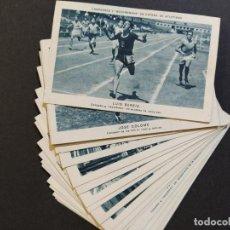 Coleccionismo deportivo: CAMPEONES Y RECORDMANS ESPAÑA ATLETISMO-COMPLETA 21 CROMOS-PUBLICIDAD LECHE NURIA-MANLLEU-(V-18.785). Lote 190872990
