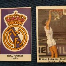 Coleccionismo deportivo: BASKET 88-89 BOLLYCAO NUNCA PEGADO DEBUT ROOKIE DRAZEN PETROVIC REAL MADRID Y ESCUDO 125 Y 122. Lote 191423661