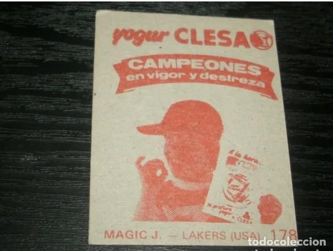 Coleccionismo deportivo: -YOGURES CLESA : 178 BYRON SCOTT ( L.A LAKERS ) !! ERROR !! MAGIC JOHNSON - RARE CARD BALONCESTO - Foto 2 - 194738942