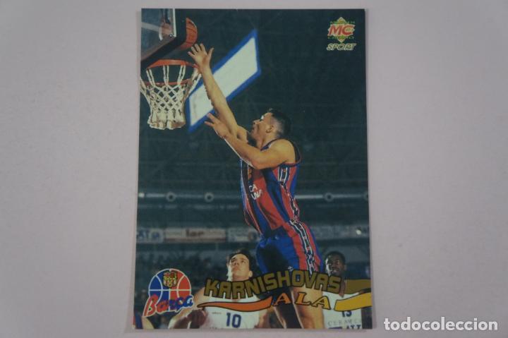 CROMO CARD DE BALONCESTO ARTURAS KARNISHOVAS DEL F.C. BARCELONA Nº 7 LIGA ACB 96 DE MUNDICROMO SPORT (Coleccionismo Deportivo - Cromos otros Deportes)