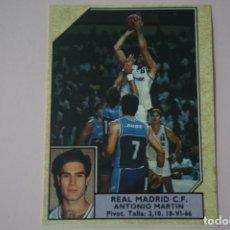 Coleccionismo deportivo: CROMO DE BALONCESTO ANTONIO MARTIN DEL REAL MADRID C.F. Nº 118 LIGA ACB 89 DE J.MERCHANTE. Lote 195244917
