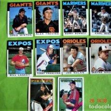 Coleccionismo deportivo: 10 CROMOS DE JUGADORES DE BASEBALL PRINTED IN USA. AÑOS 1986 Y 1988. Lote 195313590