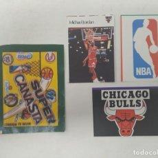 Collezionismo sportivo: 1986. MICHAEL JORDAN. CHICAGO BULLS. NBA LOGO. CROMOS SUPER CANASTA. STICKER. Lote 197127560
