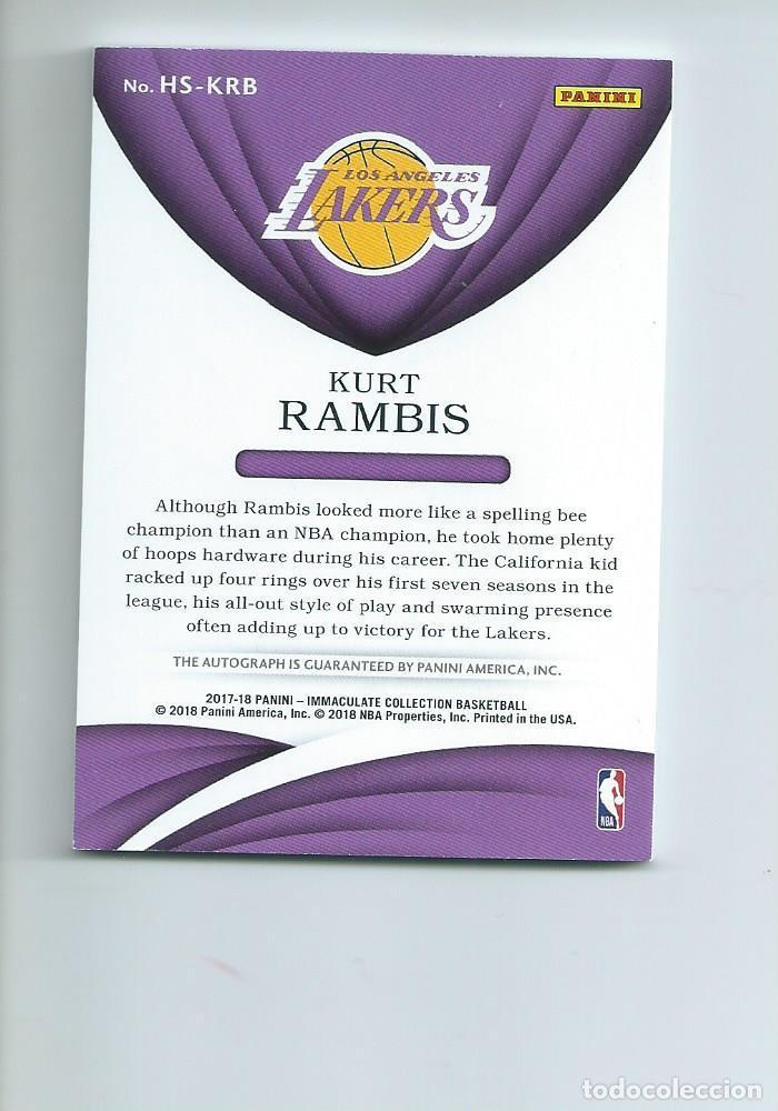 Coleccionismo deportivo: NBA LAKERS LEGENDARIOS AÑOS 80 : AUTOGRAFO ORIGINAL KURT RAMBIS (PANINI, 2017) - Foto 2 - 204203147