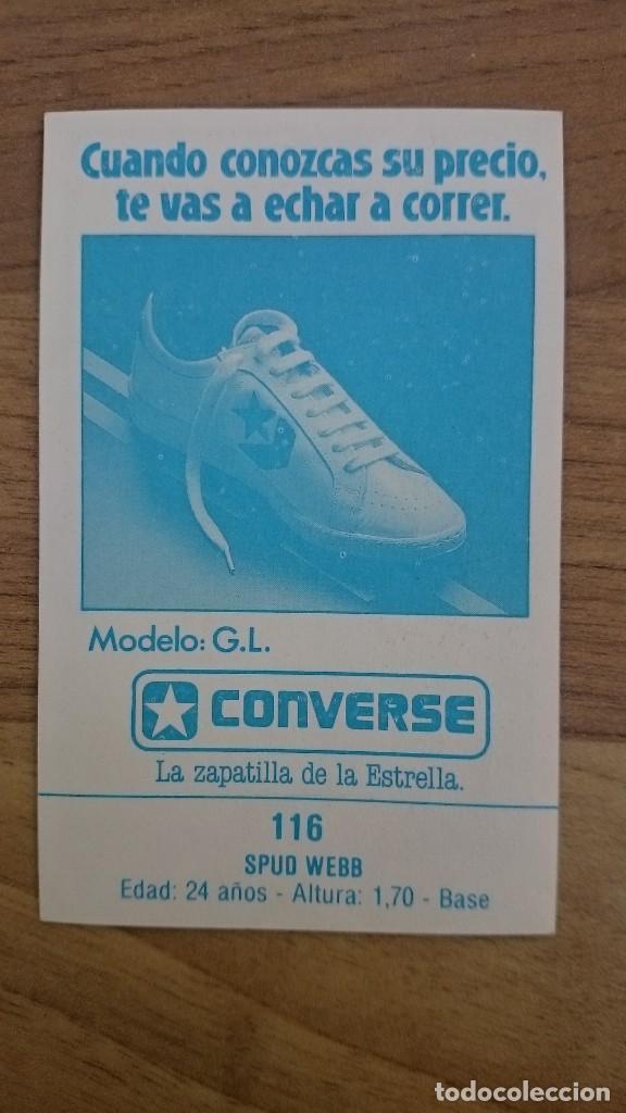 Coleccionismo deportivo: Cromo sticker Spud webb rare merchante 116 gigantes del Basket converse hawks NBA nuevo spanish - Foto 2 - 204827271