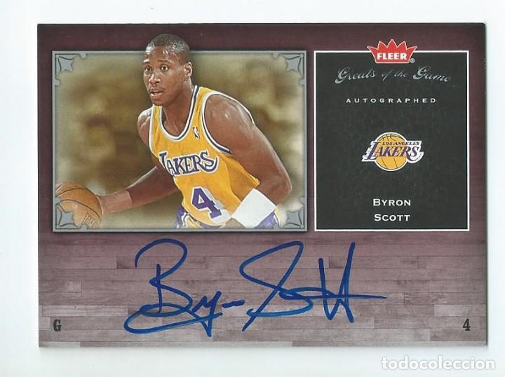 NBA LAKERS LEGENDARIOS AÑOS 80 : AUTOGRAFO ORIGINAL BYRON SCOTT (FLEER 2005) (Coleccionismo Deportivo - Cromos otros Deportes)