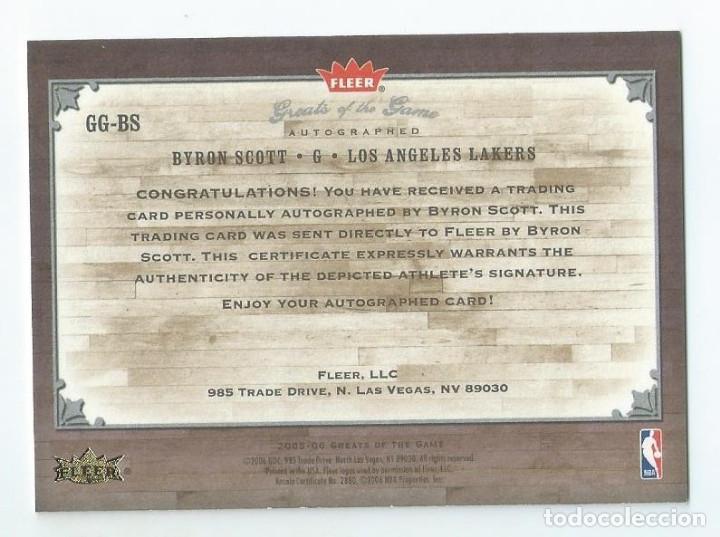 Coleccionismo deportivo: NBA LAKERS LEGENDARIOS AÑOS 80 : AUTOGRAFO ORIGINAL BYRON SCOTT (FLEER 2005) - Foto 2 - 207390723