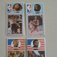 Coleccionismo deportivo: LOTE 4 CROMOS SIN PEGAR JUGADORES BASKET EDITA MERCHANTE AÑO 1986 NBA WORTHY BOGGES GILMORE CONVERSE. Lote 210645763