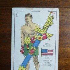 Coleccionismo deportivo: GENE TUNNEY ( USA - ESTADOS UNIDOS) CAMPEÓN MUNDIAL BOXEO - CROMO NAIPE CHOCOLATES EVARISTO JUNCOSA. Lote 223279131