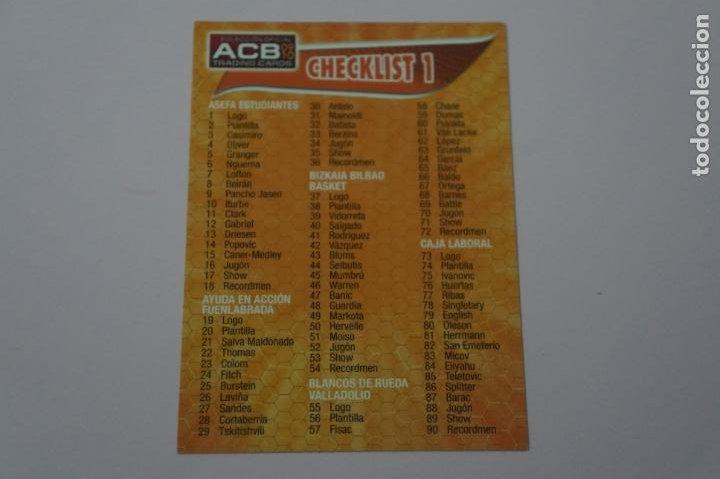 CROMO CARD DE BALONCESTO BASKET CHECKLIST Nº 1 LIGA ACB 09-10 PANINI (Coleccionismo Deportivo - Cromos otros Deportes)