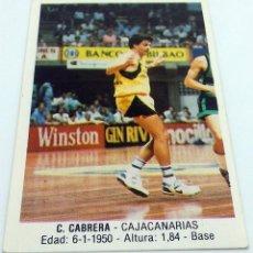 Coleccionismo deportivo: CROMO BALONCESTO CONVERSE C.CABRERA-CAJACANARIAS Nº 30. Lote 246911635