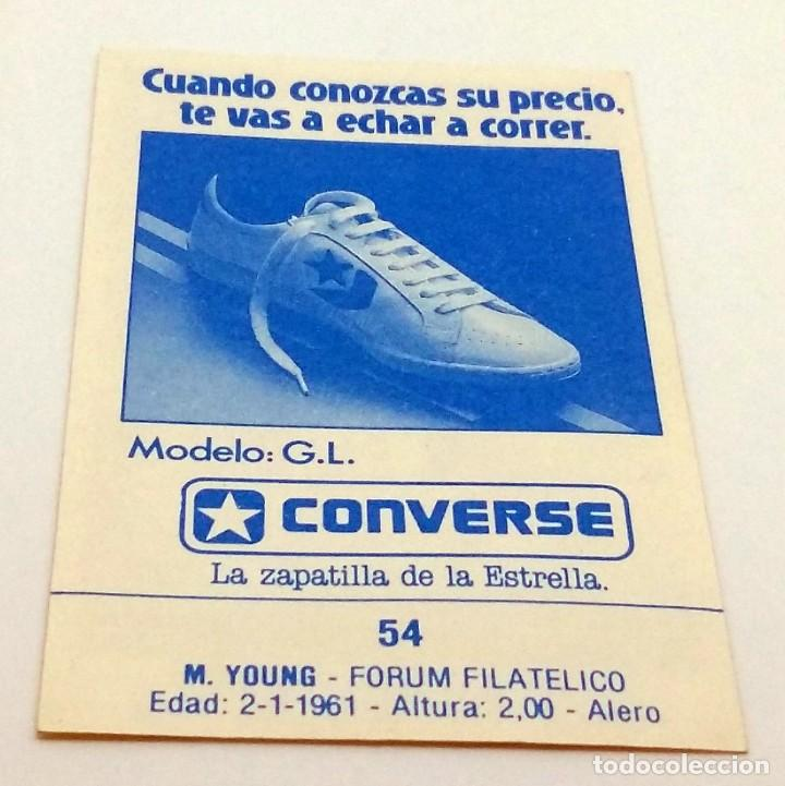 Coleccionismo deportivo: CROMO BALONCESTO CONVERSE M.YOUNG-FORUM FILATELICO Nº 54 - Foto 2 - 246920235