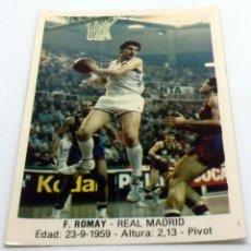 Coleccionismo deportivo: CROMO BALONCESTO CONVERSE F. ROMAY- REAL MADRID Nº 96. Lote 246982225