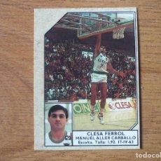 Coleccionismo deportivo: CROMO CONVERSE BALONCESTO 1988 89 Nº 67 ALLER (CLESA FERROL) - BASKET 1988 89. Lote 255442020