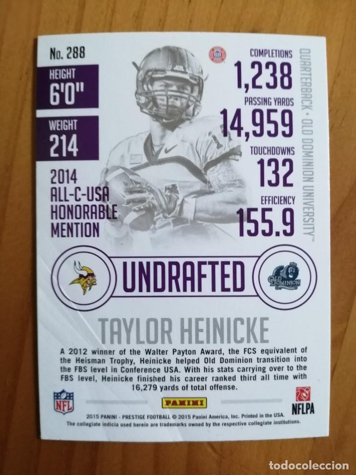Coleccionismo deportivo: CROMO NÚMERO 288- NFL - NFLPA - RUGBY - AÑO 2015 PANINI - TAYLOR HEINICKE. - Foto 2 - 261121220
