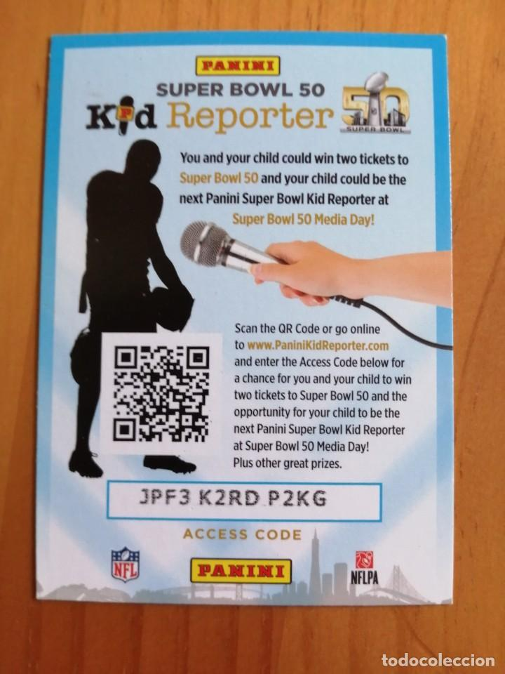 Coleccionismo deportivo: CROMO - NFL - NFLPA - RUGBY - AÑO 2015 PANINI - KID REPORTER. - Foto 1 - 261121410