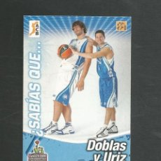 Coleccionismo deportivo: CROMO BALONCESTO FICHAS LIGA ACB 10/11 Nº216 SABIAS QUE... LAGUN ARO DOBLAS Y URIZ. Lote 267543234