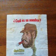 Coleccionismo deportivo: FIDEL CASTRO ( CUBA ) - NÚMERO 11 CHICLES DUNKIN CARICATURAS ¿CUÁL ES SU NOMBRE? SIN PEGAR. Lote 294020478