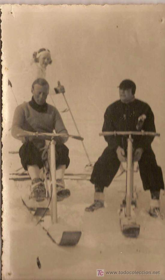 EL VELOSKI, D.RICARDO SORIANO ESTE GRAN GENIO ESPAÑOL,PROBANDO SU INVENTO EN DAVOS (SUIZA) AÑO 1919 (Coleccionismo Deportivo - Postales de Deportes)