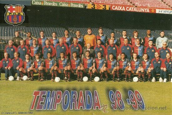 0b7855e6 F.C. BARCELONA: TARJETA DE LA PLANTILLA DE LA TEMPORADA 98-99. BARÇA.