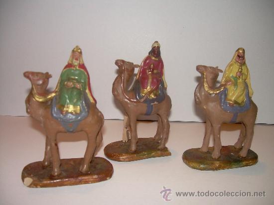 ANTIGUAS FIGURAS DE BARRO REYES MAGOS (Coleccionismo - Figuras de Belén)
