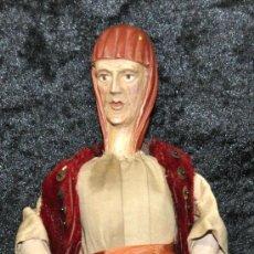 Figuras de Belén: BONITA FIGURA NAPOLITANA PARA BELÉN EN MADERA TALLADA. AÑOS 30S.. Lote 26893635