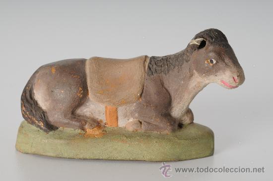 ANTIGUA FIGURA DE BELEN (O PESEBRE) EN BARRO (O TERRACOTA), MULA (Coleccionismo - Figuras de Belén)