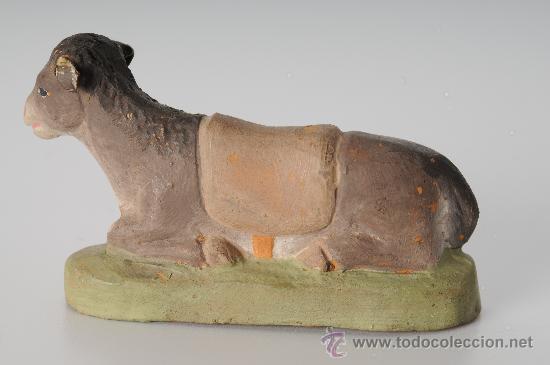 Figuras de Belén: Antigua figura de belen (o pesebre) en barro (o terracota), mula - Foto 3 - 25923993