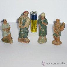 Figuras de Belén: FIGURAS DE BELEN DE TERRACOTA *AÑOS 40* CUTRO PASTORES. Lote 29744900