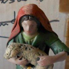 Figuras de Belén: BELEN NACIMIENTO, PASTORA DE BARRO Y LIENZO. Lote 30720724