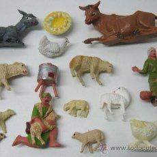 Figuras de Belén: LOTE FIGURAS ANTIGUOS PASTORES ANIMALES NACIMIENTO BELEN PESEBRE. Lote 34209584