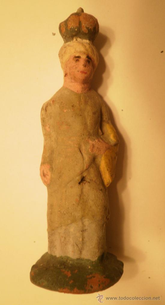FIGURA BELEN-PESEBRE EN TERRACOTA. MUJER CON CALABAZA EN LA CABEZA. ANTIGUA (Coleccionismo - Figuras de Belén)