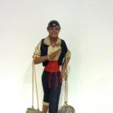 Figuras de Belén: ANTIGUA FIGURA GOMA DURA PESCADOR, VENDEDOR DE PESCADO MEDITERRANEO REGIONAL .. 17 CM. APTA PESEBRE. Lote 39695198