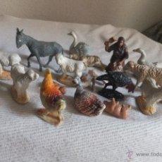 Figuras de Belén: FIGURAS PLATICO DURO BELÉN PESEBRE. ANIMALES CAGANET PUENTE NIÑO JESÚS PUENTE CHOZA PASTOR. Lote 39994704