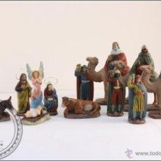 Figuras de Belén: 12 PRECIOSAS FIGURAS DE BELÉN EN BARRO PINTADAS A MANO Y LOS REYES MAGOS . Lote 40725272