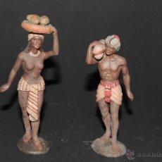 Figuras de Belén: PRECIOSAS FIGURAS DE BELEN EN TERRACOTA, HOMBRE Y MUJER, FIRMADO DANIEL. Lote 40945437