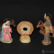 Figuras de Belén: FIGURA DE BELEN O PESEBRE EN TERRACOTA,.SAN JOSE, VIRGEN MARIA Y NIÑO JESUS, MULA Y BUEY. Lote 43567640