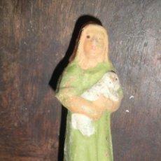 Figuras de Belén: ANTIGUA FIGURA BELEN BARRO TERRACOTA PASTOR CON OVEJA. Lote 46150976