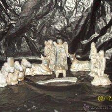 Figuras de Belén: ANTIGUO BELEN METAL METALIZADO , NACIMIENTO - 14 PIEZAS. Lote 46635484