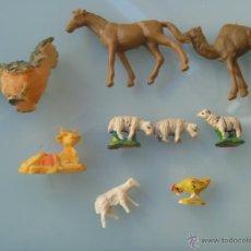 Figuras de Belén: LOTE DE 9 ANIMALITOS DEL PORTAN DE BELEN : PLASTICO, BARRO Y RESINA. Lote 46669668