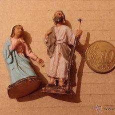 Figuras de Belén: FIGURITAS BELEN ANTIGUO VIRGEN MARIA Y SAN JOSE DE PLÁSTICO. Lote 47080468